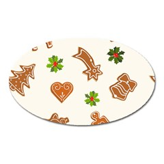 Cute Christmas Seamless Pattern  Oval Magnet