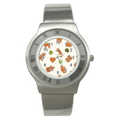 Cute Christmas Seamless Pattern  Stainless Steel Watch