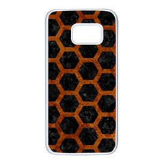 Hexagon2 Black Marble & Brown Marble Samsung Galaxy S7 White Seamless Case