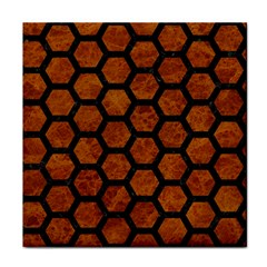 Hexagon2 Black Marble & Brown Marble (r) Face Towel