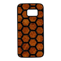 Hexagon2 Black Marble & Brown Marble (r) Samsung Galaxy S7 Black Seamless Case