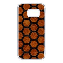 Hexagon2 Black Marble & Brown Marble (r) Samsung Galaxy S7 White Seamless Case