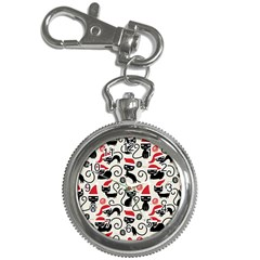 Cute Cat Christmas Seamless Pattern Vector  Key Chain Watches