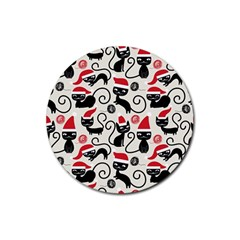 Cute Cat Christmas Seamless Pattern Vector  Rubber Round Coaster (4 Pack)