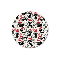 Cute Cat Christmas Seamless Pattern Vector  Magnet 3  (round)