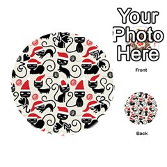 Cute Cat Christmas Seamless Pattern Vector  Playing Cards 54 (round)