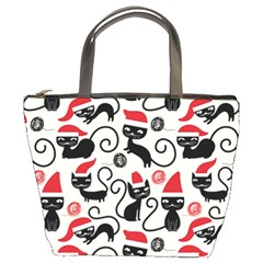 Cute Cat Christmas Seamless Pattern Vector  Bucket Bags