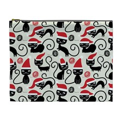Cute Cat Christmas Seamless Pattern Vector  Cosmetic Bag (xl)