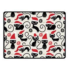 Cute Cat Christmas Seamless Pattern Vector  Double Sided Fleece Blanket (small)