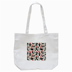 Cute Cat Christmas Seamless Pattern Vector  Tote Bag (white)