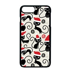 Cute Cat Christmas Seamless Pattern Vector  Apple Iphone 7 Plus Seamless Case (black)