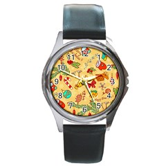 Cute Christmas Seamless Pattern Vector Round Metal Watch