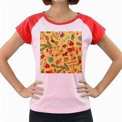 Cute Christmas Seamless Pattern Vector Women s Cap Sleeve T Shirt