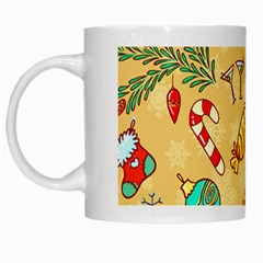 Cute Christmas Seamless Pattern Vector White Mugs