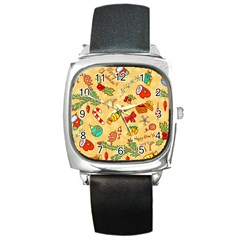 Cute Christmas Seamless Pattern Vector Square Metal Watch