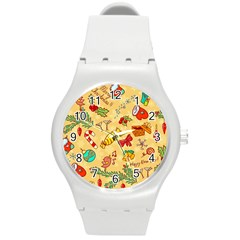 Cute Christmas Seamless Pattern Vector Round Plastic Sport Watch (m)