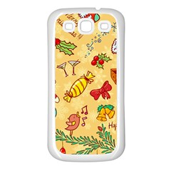 Cute Christmas Seamless Pattern Vector Samsung Galaxy S3 Back Case (white)