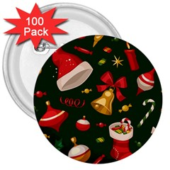 Cute Christmas Seamless Pattern 3  Buttons (100 Pack)