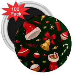 Cute Christmas Seamless Pattern 3  Magnets (100 Pack)