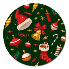 Cute Christmas Seamless Pattern Magnet 5  (round)