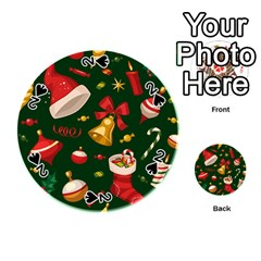 Cute Christmas Seamless Pattern Playing Cards 54 (round)