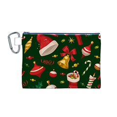 Cute Christmas Seamless Pattern Canvas Cosmetic Bag (m)