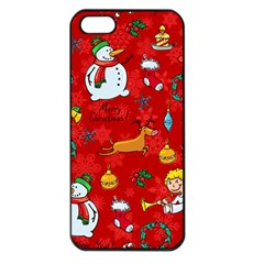 Cute Christmas Seamless Pattern Vector  Apple Iphone 5 Seamless Case (black)