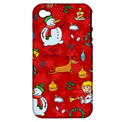 Cute Christmas Seamless Pattern Vector  Apple Iphone 4/4s Hardshell Case (pc+silicone)