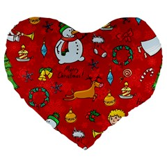Cute Christmas Seamless Pattern Vector  Large 19  Premium Flano Heart Shape Cushions