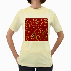 Elements Of Christmas Decorative Pattern Vector Women s Yellow T Shirt