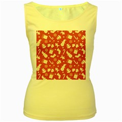 Pattern Christmas Elements Seamless Vector Women s Yellow Tank Top