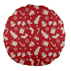 Pattern Christmas Elements Seamless Vector Large 18  Premium Flano Round Cushions