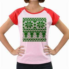 Knitted Fabric Christmas Pattern Vector Women s Cap Sleeve T Shirt