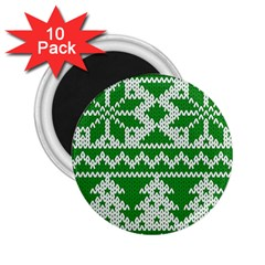 Knitted Fabric Christmas Pattern Vector 2 25  Magnets (10 Pack)