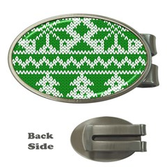 Knitted Fabric Christmas Pattern Vector Money Clips (oval)
