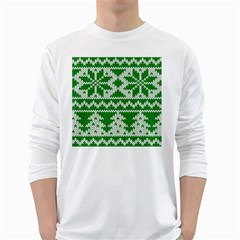Knitted Fabric Christmas Pattern Vector White Long Sleeve T Shirts