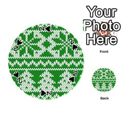 Knitted Fabric Christmas Pattern Vector Playing Cards 54 (round)