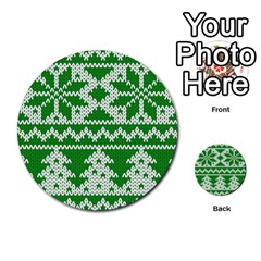 Knitted Fabric Christmas Pattern Vector Multi Purpose Cards (round)