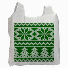 Knitted Fabric Christmas Pattern Vector Recycle Bag (two Side)