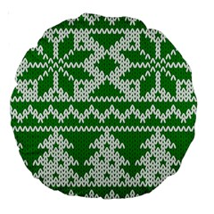 Knitted Fabric Christmas Pattern Vector Large 18  Premium Round Cushions