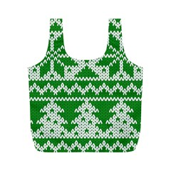 Knitted Fabric Christmas Pattern Vector Full Print Recycle Bags (m)