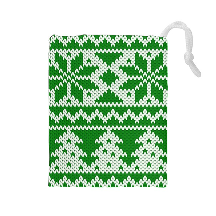Knitted Fabric Christmas Pattern Vector Drawstring Pouches (Large)