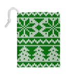 Knitted Fabric Christmas Pattern Vector Drawstring Pouches (Large)  Back