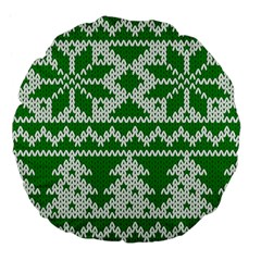 Knitted Fabric Christmas Pattern Vector Large 18  Premium Flano Round Cushions
