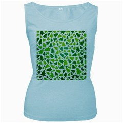 Pattern Christmas Elements Seamless Vector  Women s Baby Blue Tank Top