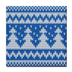 Knitted Fabric Christmas Pattern Vector Tile Coasters
