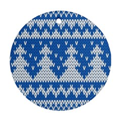 Knitted Fabric Christmas Pattern Vector Ornament (round)