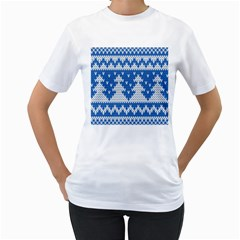 Knitted Fabric Christmas Pattern Vector Women s T Shirt (white) (two Sided)