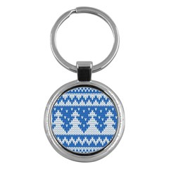 Knitted Fabric Christmas Pattern Vector Key Chains (round)