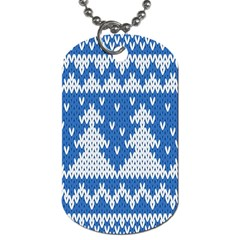 Knitted Fabric Christmas Pattern Vector Dog Tag (two Sides)